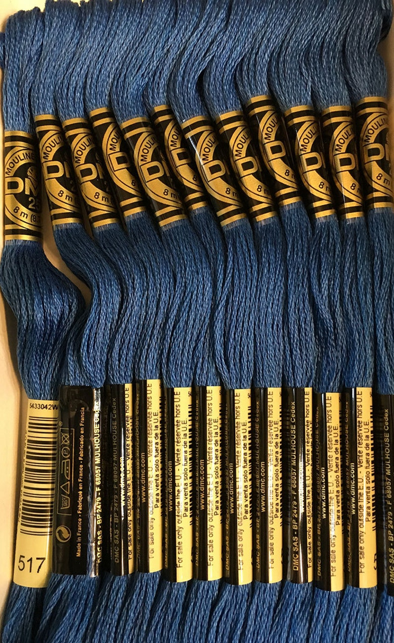 DMC 517 Dark Wedgwood Embroidery Floss 2 Skeins 6 Strand Thread for  Embroidery Cross Stitch Needlepoint Sewing Beading