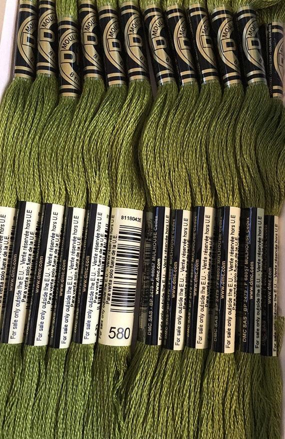 Dmc 580 Dark Moss Green Embroidery Floss 2 Skeins 6 Strand Etsy