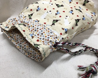 Going to the Dogs Print Dog Bones Sweaters Knitting Beading Project Bag with Yarn Rope Drawstring