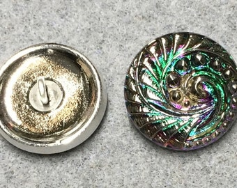 Indian Swirl Czech Glass Button with Silver Spiral Pattern Detail with Metal Shank 18mm
