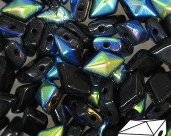ON SALE Jet Black AB Diamonduo Pressed Glass Two Hole Seed Beads 5x8mm 50 Beads