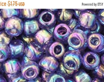 ON SALE 6/0 Transparent Rainbow Sugar Plum Toho Glass Seed Beads 2.5 inch tube 8 grams TR-06-166D