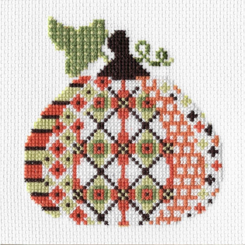 Ornament Kit Patterned Pumpkin 1 Creative Needle Arts Counted image 1
