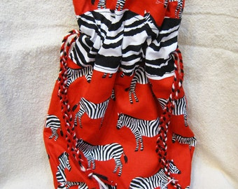 The Zebra Black and White and Red All Over Medium Knitting Beading Project Work in Progress Bag with Yarn Drawstring