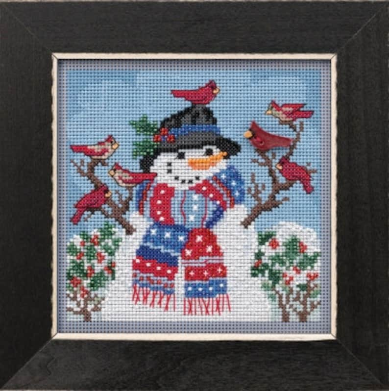 Cross Stitch and Beads Kit Mill Hill Winter Welcome Buttons image 0