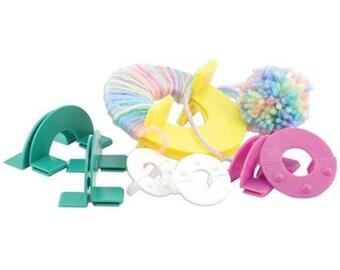 "Easy Wrap Pom Pon Maker 4 Sizes 1.25"", 1.75"", 2.25"", 3.5"" for Knitting and Crochet"