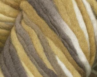 Tierra del Fuego by Araucania Super Bulky Hand Painted Yarn Brown White Tan Gold 88 yards 100% Wool Color 101 Rio de Plata