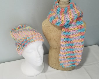 knitted scarf and hat set, loom knitting, knitted scarf, knitted, infinity scarf, infinity, handmade scarf, handmade, scarfs