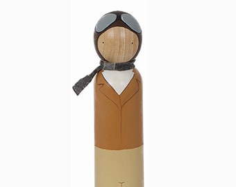 Amelia Earhart, Large Wooden Peg Doll, Trailblazers, Famous Women, Educational Fair Trade Toy, Goose Grease