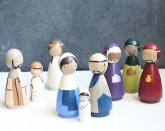 Ready to Ship // Peg Doll Nativity Set Wooden Dolls // Goose Grease Original Fair Trade Wooden Dolls