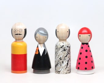 The Modern Artists II, Wooden Peg Dolls, Famous Painters, Fair Trade Toys, Goose Grease