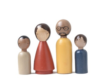 The Organic Family II, 4 pc Wooden Peg Dolls, Fair Trade Toys, Goose Grease