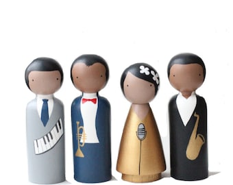 The Jazz Cats, Wooden Peg Dolls, Famous Jazz Musicians, Educational Fair Trade Toys, Goose Grease