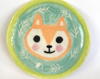SPRING CHIPMUNK wheel thrown ceramic Decorative PLATE