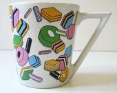 Sweet vintage 1980s geometric mug, candy.