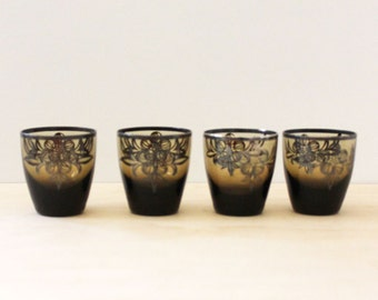 Silver overlay amber shot glasses or liqueur glasses. Set of four. Holiday barware.
