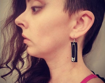 Black leather and safety pin earrings punk earrings trendy earrings dangle earrings handmade unique style