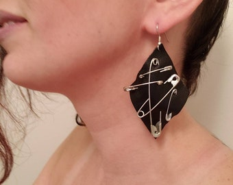 Leather and safety pin earrings handmade jewelry one of a kind accessory black and metal