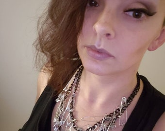 Double black chain necklace safety pin necklace handmade jewelry statement necklace one of a kind