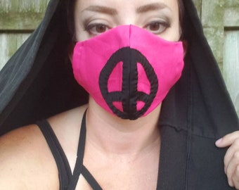 Face mask with peace sign handmade facial covering hot pink and black