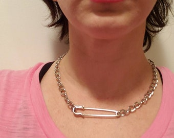 Chain necklace with extra large safety pin handmade necklace