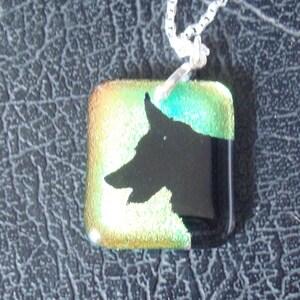 Permenant Drilled Sterling Silver Setting /& Chain .925 Dragon ~ Custom Dicroic Glass Pendant