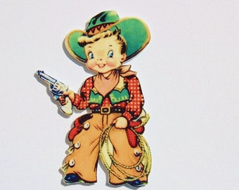Little Cowboy - Shrink Plastic Brooch - Handmade
