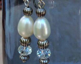 Genuine Freshwater Pearl and Swarvski Crystal Dangle Earrings, Sterling Silver, Cavalier Creations