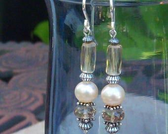Genuine Champagne FW Pearl, Whiskey Quartz, Citrine Earrings, Sterling Silver, Cavalier Creations