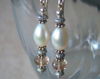 Cavalier Creations Genuine Whiskey and Smoky Quartz and Champagne FW Pearl Beaded Dangle Earrings in 14kt Rose Gold Filled