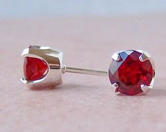 Mozambique Garnet 7mm Sterling Silver Stud Earrings, Cavalier Creations