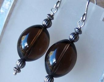 Genuine Smoky Quartz Beaded Dangle Earrings in Sterling Silver, Cavalier Creations