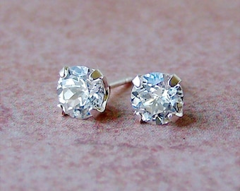 6mm Precision Faceted Lab White Sapphire Sterling Silver Stud Earrings, Cavalier Creations