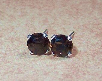 Hot Chocolate Genuine Smoky Quartz Sterling Silver Stud Earrings, Cavalier Creations