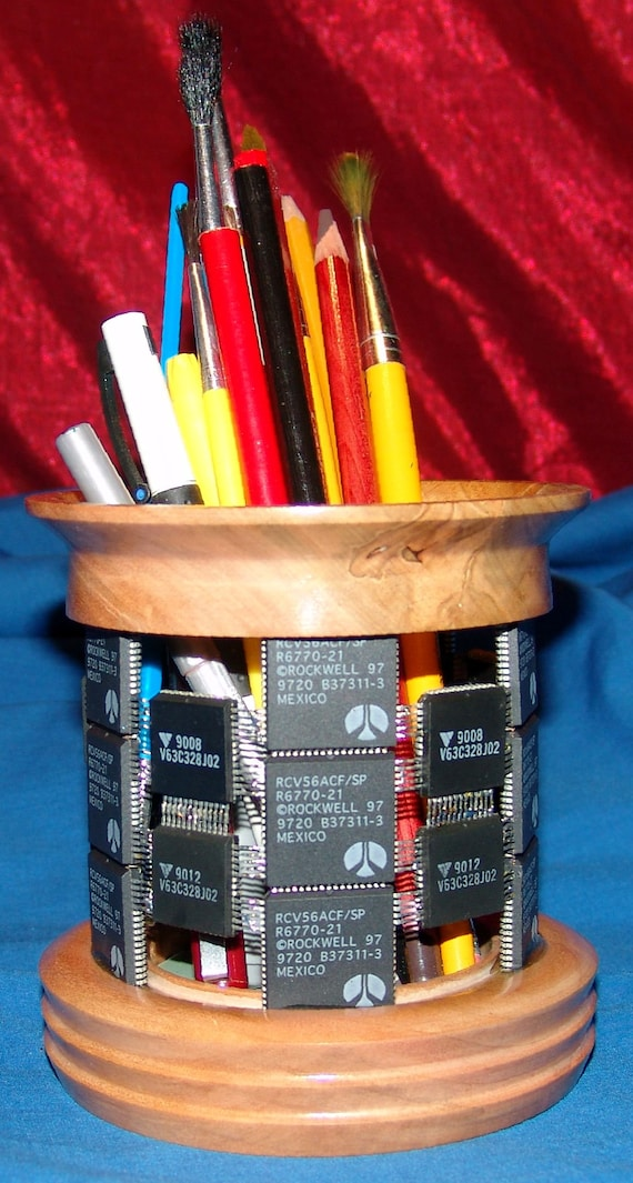 Digital Technology Holding Analog Technology - Pencil Holder – 65-17 – Integrated Circuits and Wood – FREE Shipping in USA!!