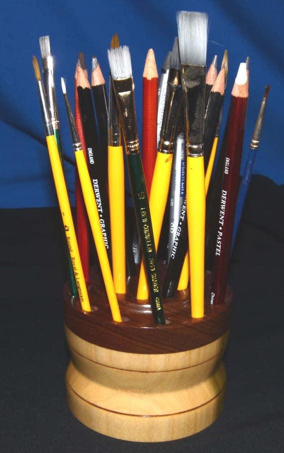 21 Brush/Pencil Holder – Poplar and Black Walnut 14-17 - FREE Shipping in USA!!