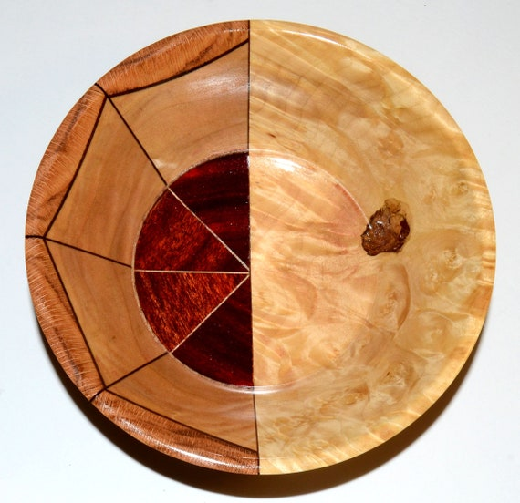 """50/50 Wood Bowl – """"Indecision"""" – Unique Segmented and Solid Design – FREE Shipping in USA!!"""