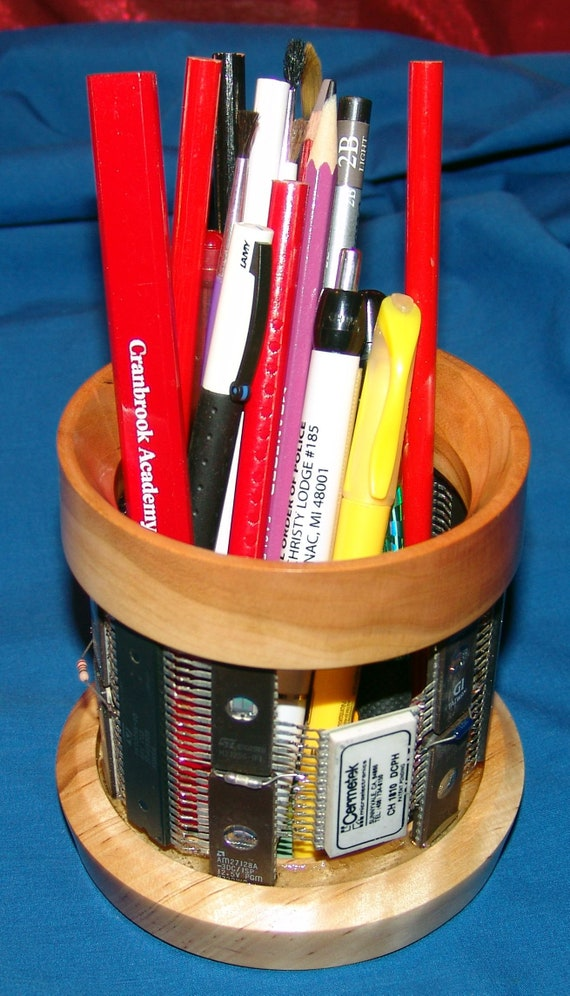 Digital Technology Holding Analog Technology - Pencil Holder – 39-18 – Integrated Circuits and Wood – FREE Shipping in USA!!