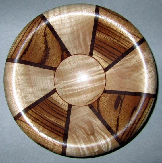 "Turned Wood Segmented Bowl – ""Simitree"" – Segmented Design with Zebrawood and Curly Maple 40-17 - FREE Shipping in USA!!"