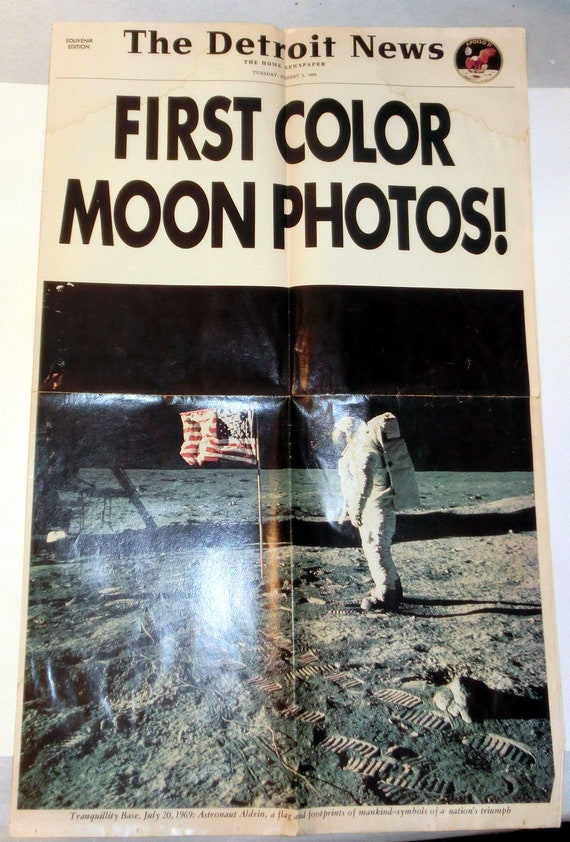 Vintage Detroit News Newspaper Edition – First Color Moon Photos! - The Detroit News 1969 Souvenir Edition – Collect or Use