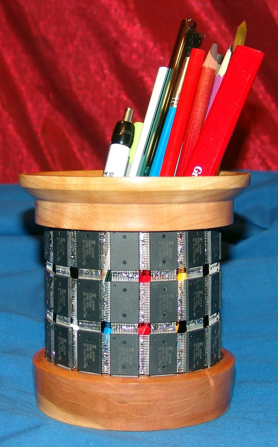 Digital Technology Holding Analog Technology - Pencil Holder – 37-18 – Integrated Circuits and Wood – FREE Shipping in USA!!