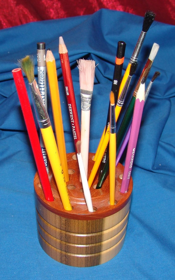 21 Brush/Pencil Holder – Poplar and Cherry 15-17 – FREE Shipping in USA!!