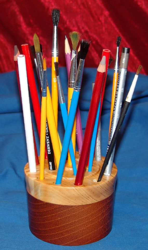 21 Brush/Pencil Holder – 48-18 – Mahogany and Figured Birch – FREE Shipping in USA!!