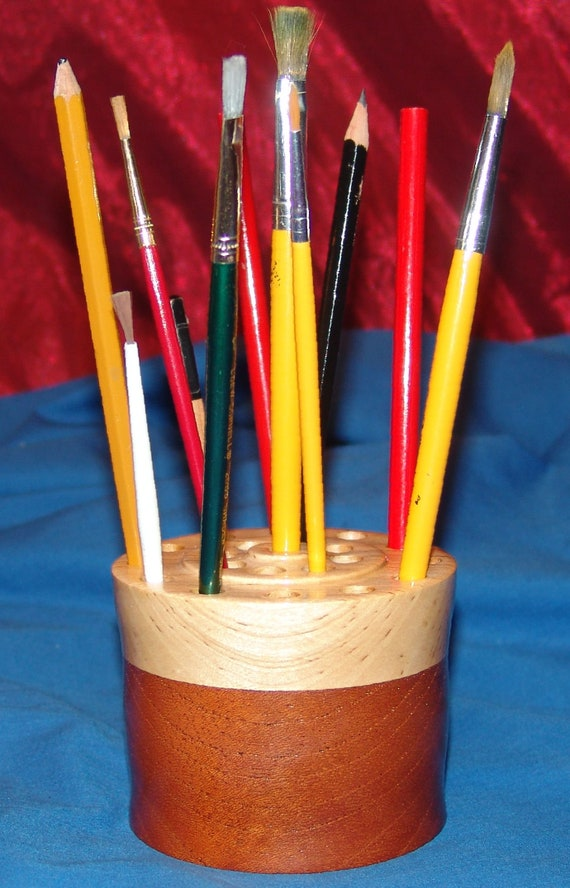 21 Brush/Pencil Holder – 41-18 – Mahogany and Birch – FREE Shipping in USA!!