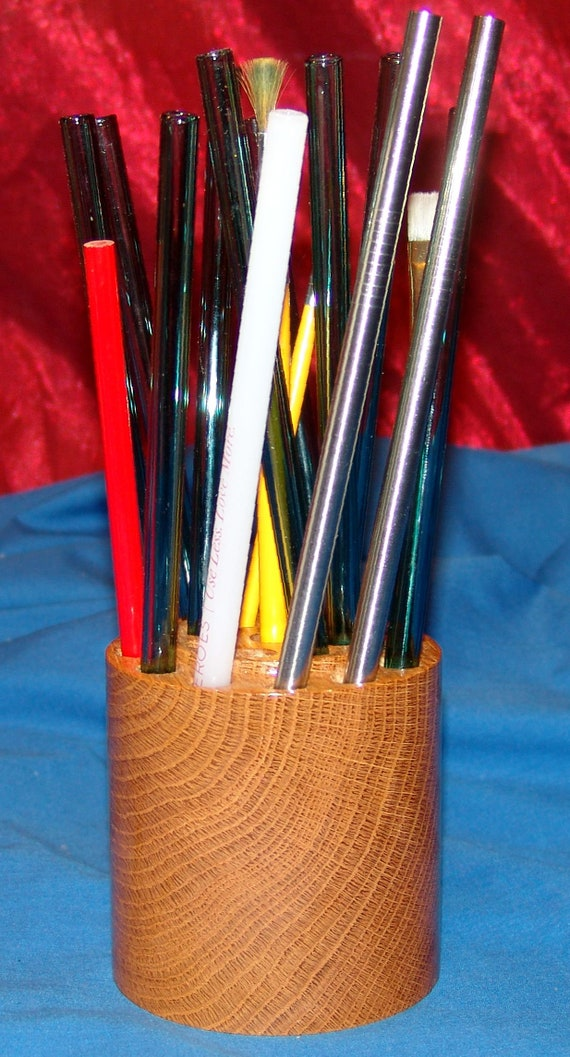 21 Brush / Pencil / Glass or Metal Straw Holder – 16-18 – White Oak – FREE Shipping in USA!!
