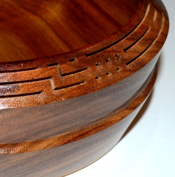 "Canarywood Bowl – ""Message"" – Unique Carving Details - FREE Shipping to USA!!"