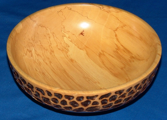 Maple Bowl -Return One- with Pyrography 13-04