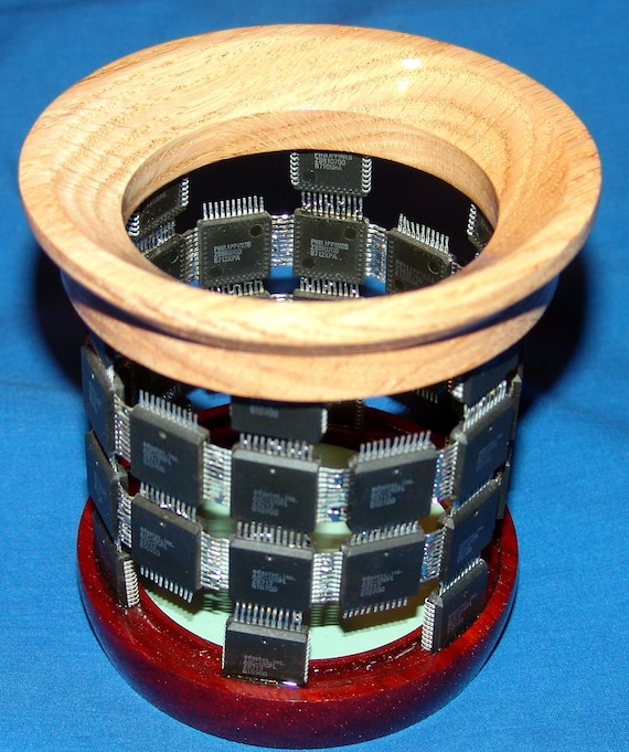Digital Technology Holding Analog Technology - Pencil Holder – 66-18 – Integrated Circuits and Wood – FREE Shipping in USA!!