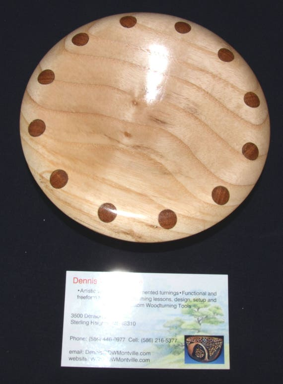 """Ash Wood Turned Bowl – """"Experiment 14"""" – One Piece with Dowel Inserts - FREE Shipping in USA!!"""