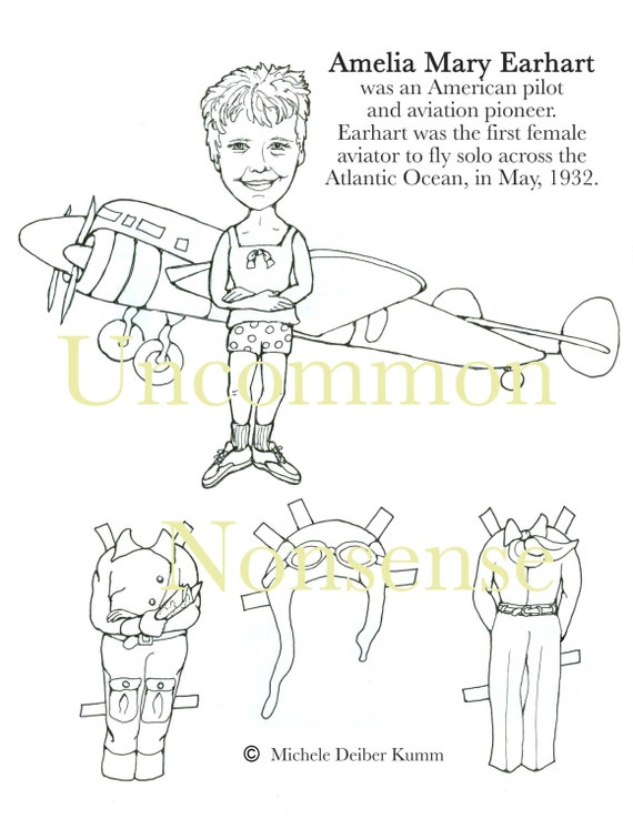 Amelia Earhart Paper Doll to color and cut | Etsy